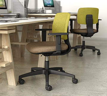 task and work seating with white breathable mesh