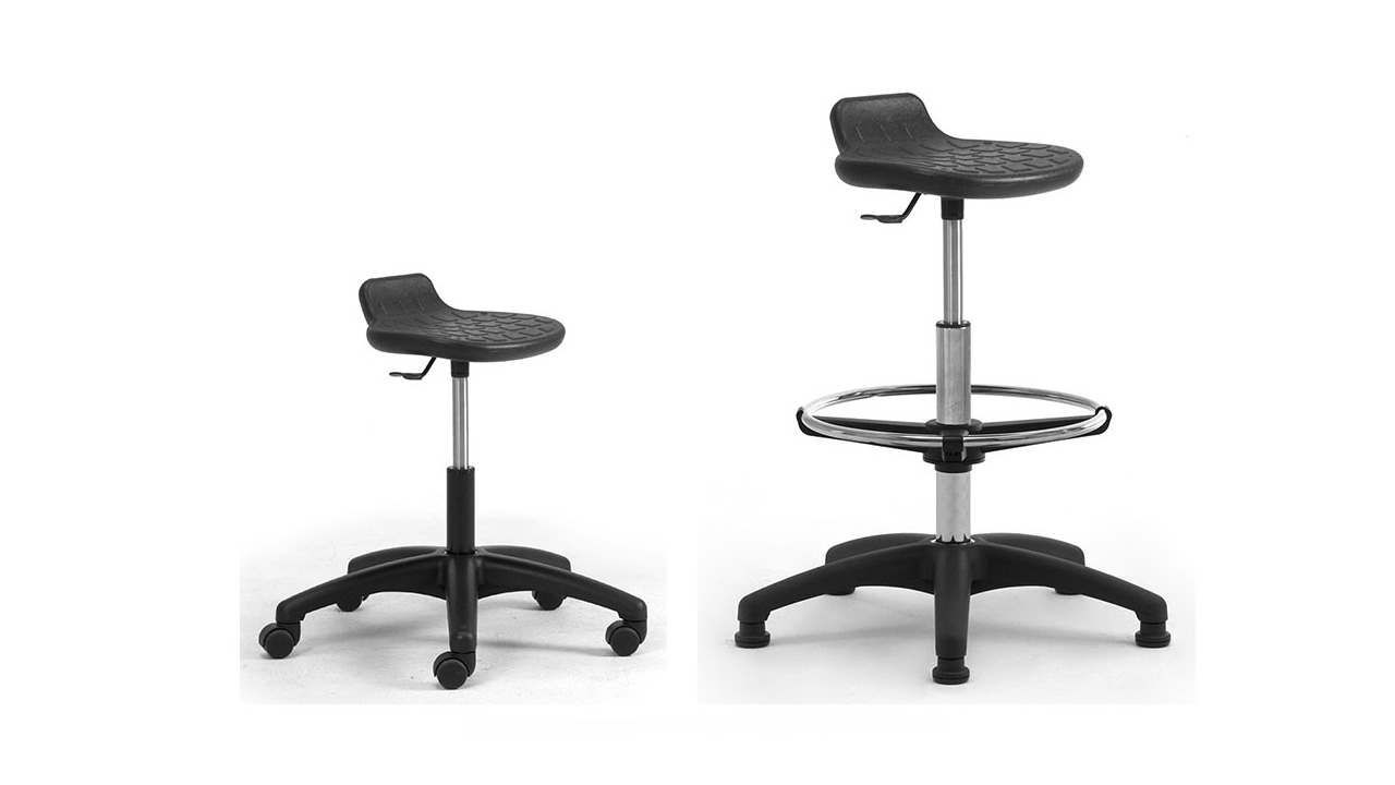 Chairs and stools with integral polyurethane equipped with footrest for standing workstation Officia