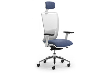 Ergonomic design white mesh office seating with headrest Cometa W