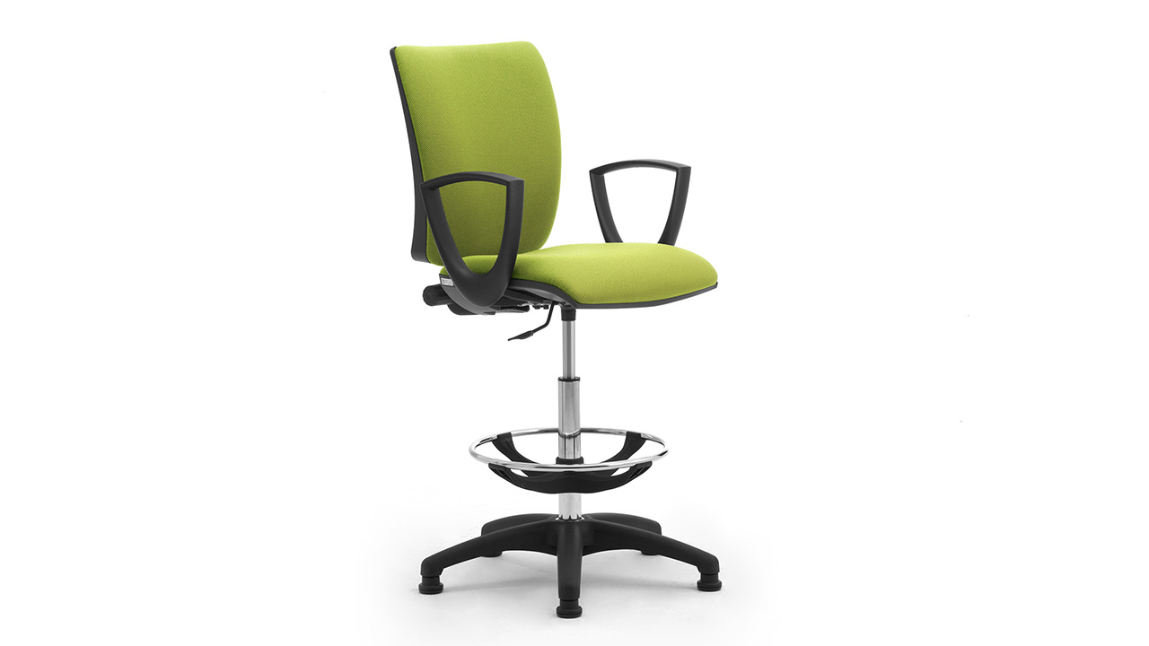 Swivel stool with armrests and footrest for laboratory and industry Sprint