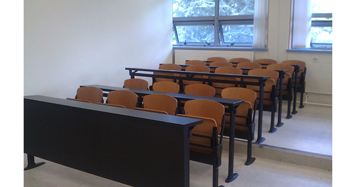 Lecture Hall Commercial Bench Seating With Arms Leyform